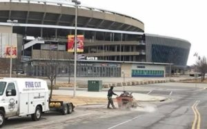 Concrete slab sawing with Fine Cut USA at Arrowhead and Kauffman Stadium.