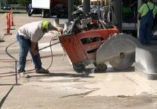 Concrete Slab Sawing in action Fine Cut Concrete Drilling and Sawing LLC